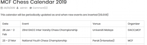 MCF Chess Calendar 2019