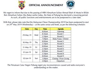 Postponement Of Malaysian Chess Championship 2019